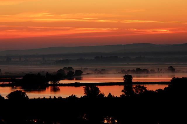 západ slunce, voda